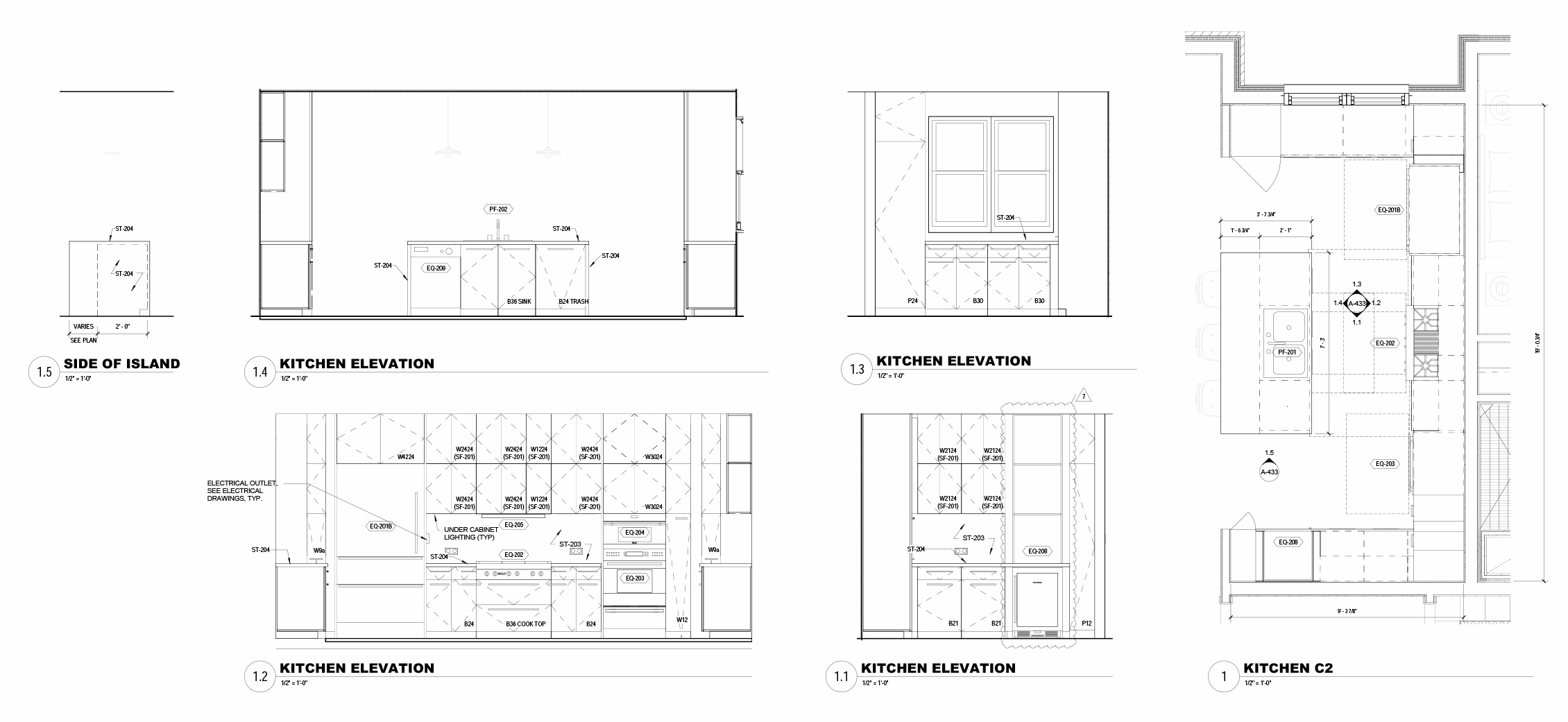Unit Kitchen Drawings Forrest Perkins}