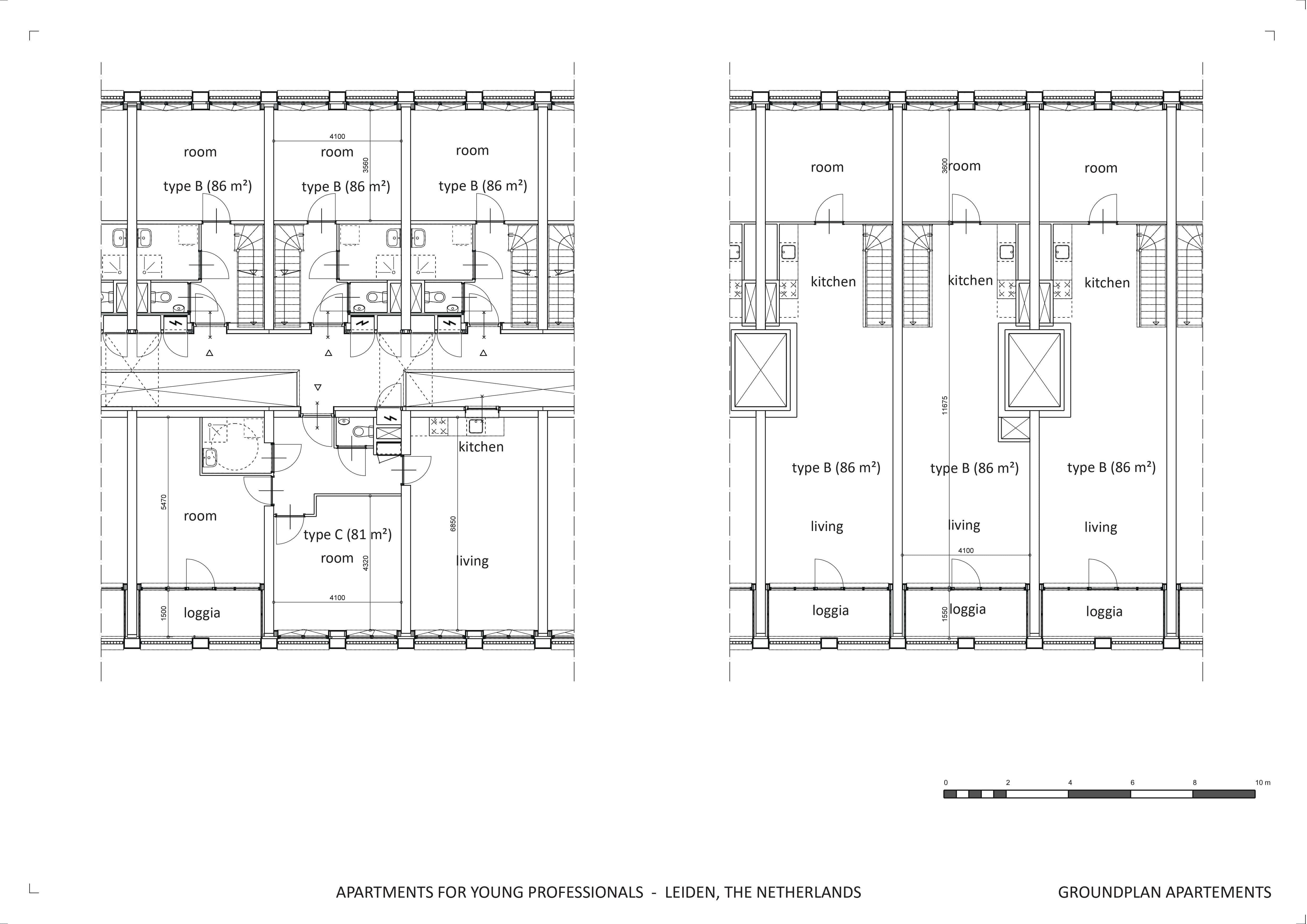 groundplan apartments - 2st and 3st floor block waardgracht splinter architecten}