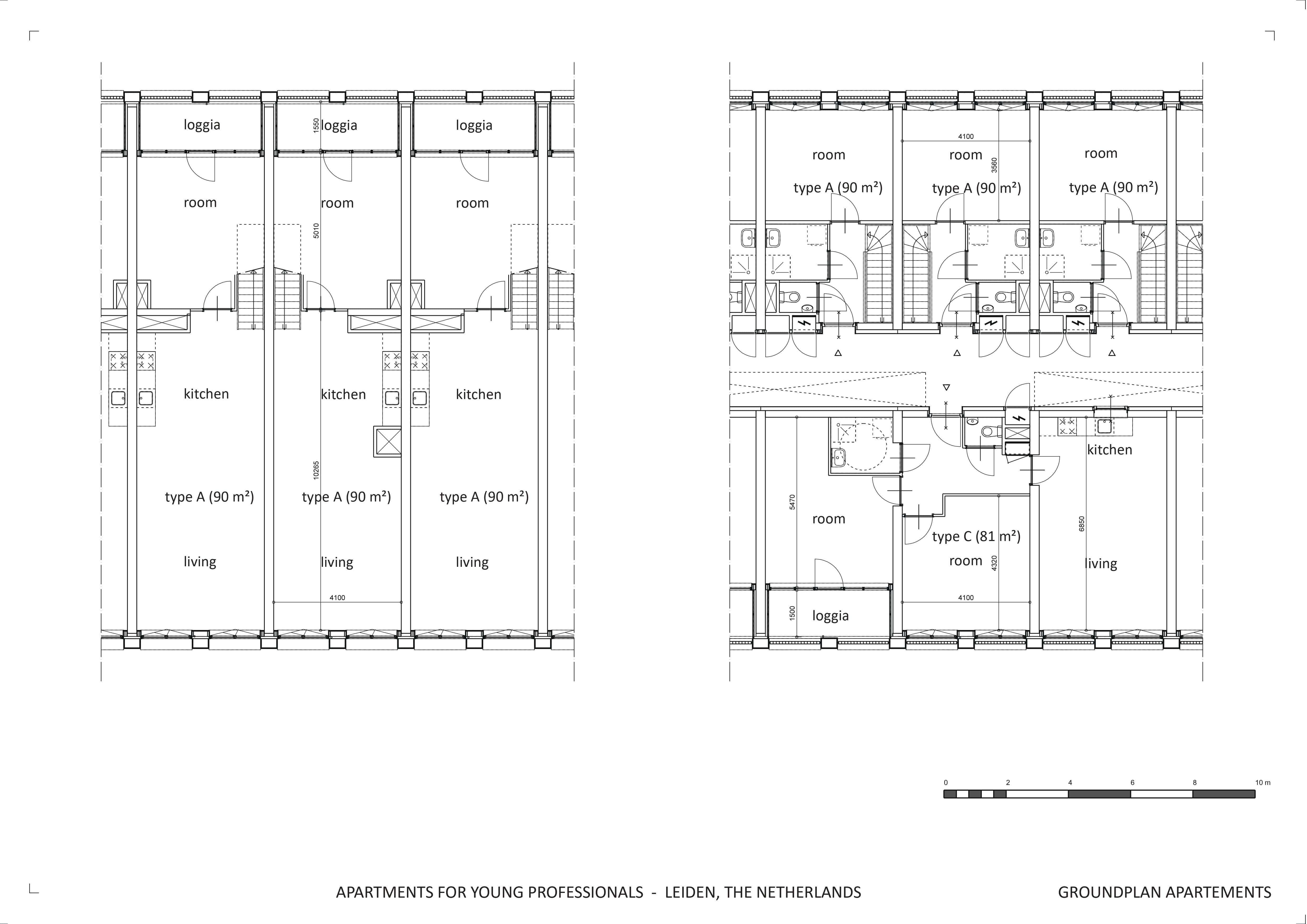 groundplan apartements - ground and 1st floor block waardgracht splinter architecten}