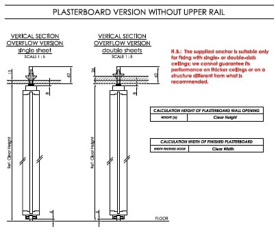 Plasterboard Version without upper rail Linvisibile}