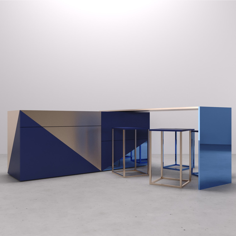 Possibile posizione tavolo rotante su perno, con sgabelli. Arch. Anna Polisano, Designer Enrico Pontillo, Arch. Marco Esposito