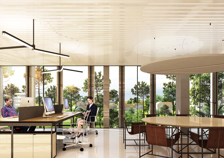 installazione di Trittico nel progetto del Complesso di spazi per uffici innovativi di  Cesson-Sévigné in Francia. Atelier(s) Alfonso Femia}