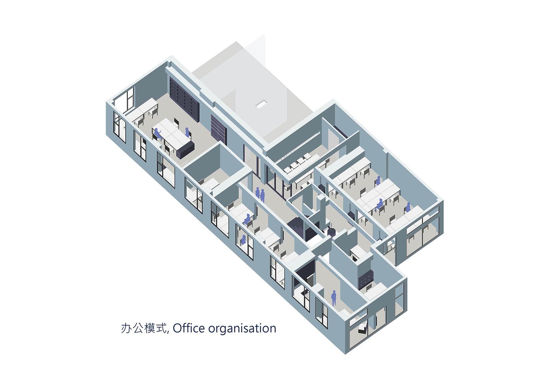 Axonometric diagram of office area Shanghai ORIA Planning & Design Co., Ltd.}
