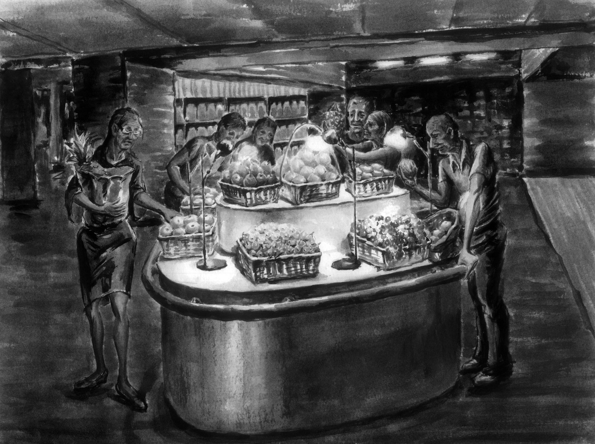 The interior fruit stall, originally outside on the streets, have been created inside Felix Zhenhua Luo}