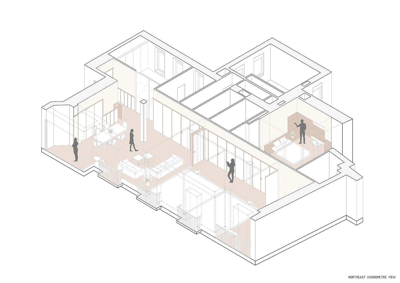 Northeast axonometric view Contextos de Arquitectura y Urbanismo}