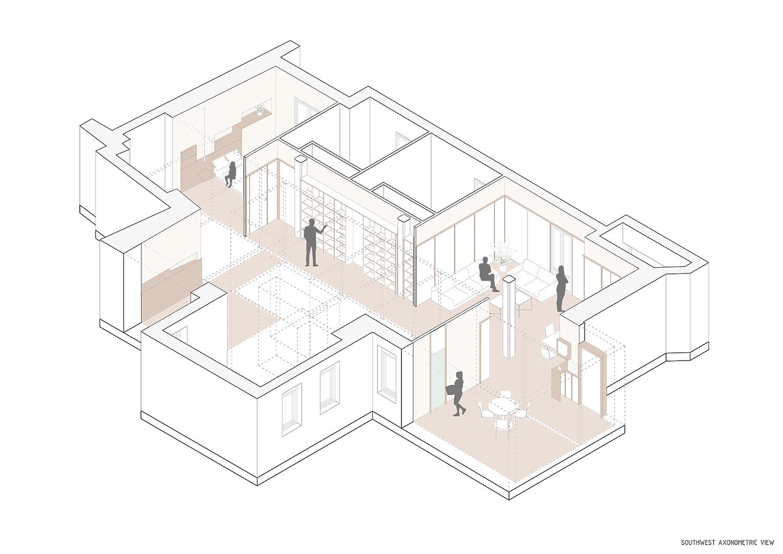 Southwest axonometric view Contextos de Arquitectura y Urbanismo}