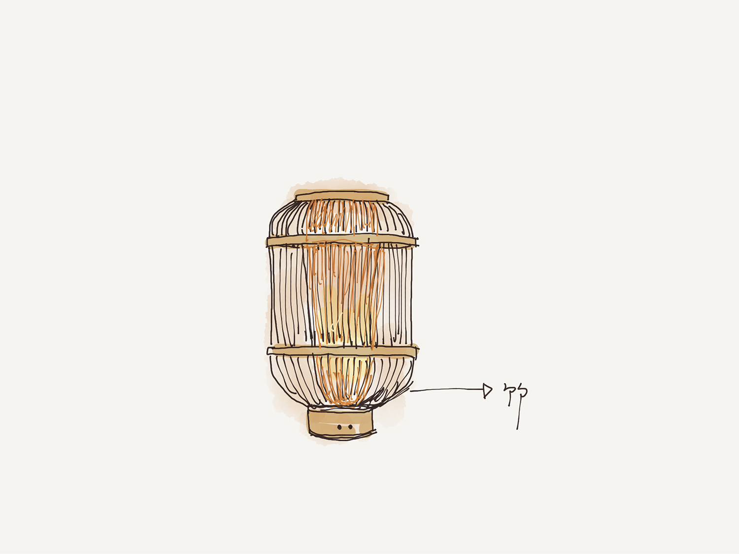 Hand drawing of bamboo table lamp Zhou He}