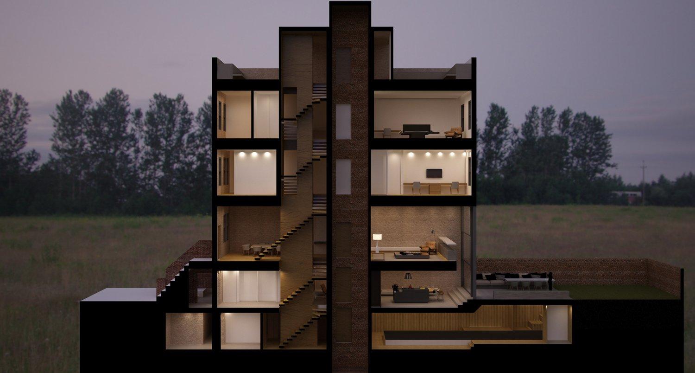 Brownstone Residence - preliminary perspective study of the house STUDIO ARTHUR CASAS}