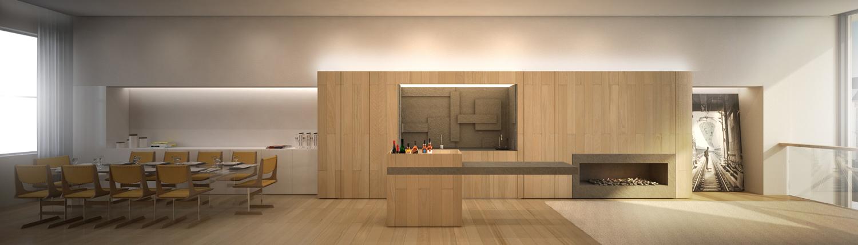 Brownstone Residence - Dinning room and Bar render STUDIO ARTHUR CASAS}