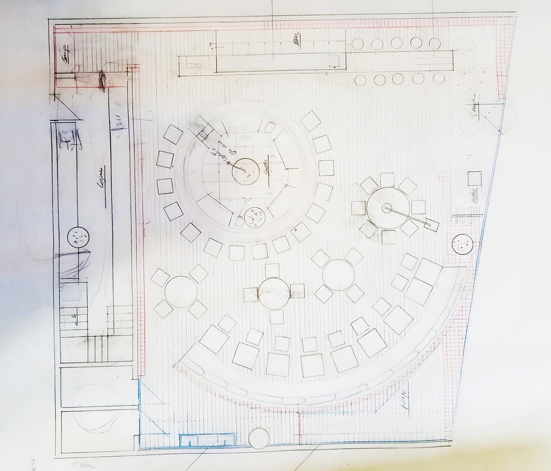 Kosushi Miami Restaurant - Plan Sketch STUDIO ARTHUR CASAS}