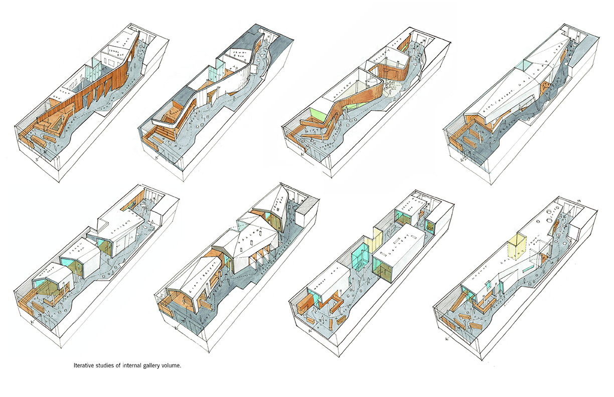 Iterative studies of gallery volume LTL Architects}