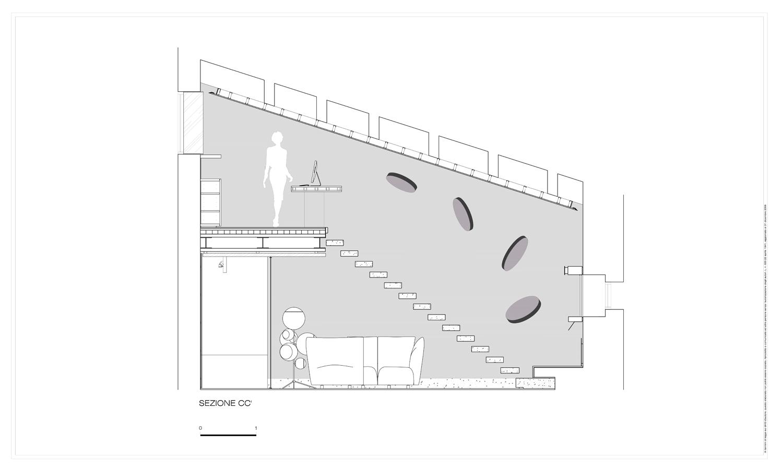 Sezione trasversale sul soggiorno a doppia altezza Carlo Berarducci Archiìtecture}