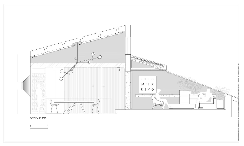 Sezione trasversale sul pranzo e la tarrazza Carlo Berarducci Archiìtecture}