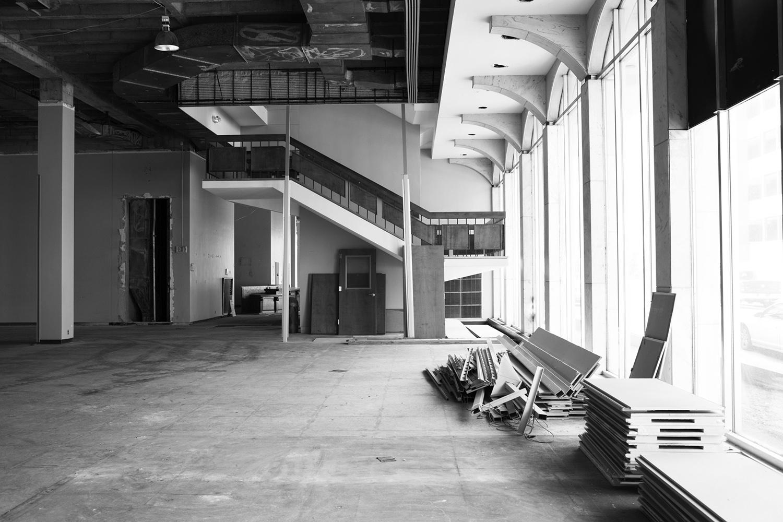 View toward monumental stair pre-adaptive reuse 2017 HASTINGS}