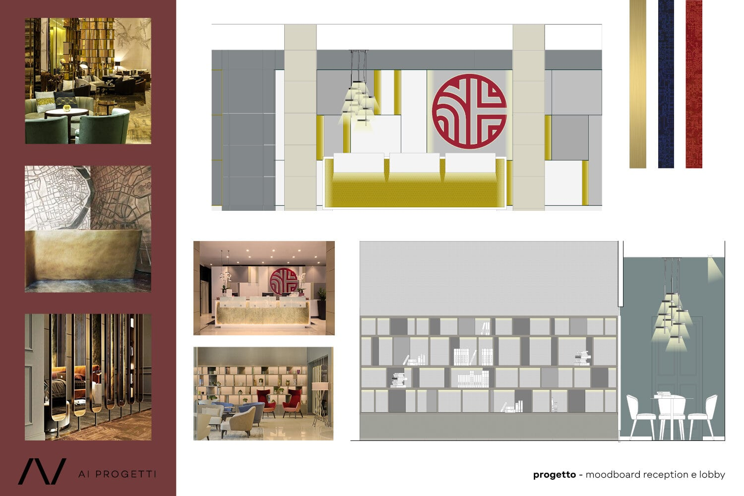 Reception and lobby moodboard and photos AI Progetti}