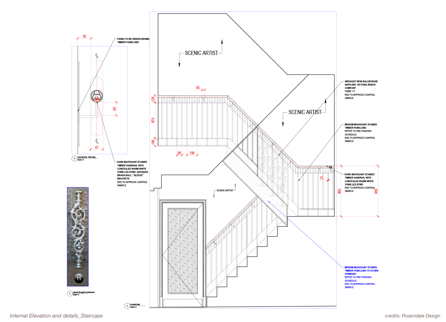 Internal Elevation and Details - Staircase Rosendale Design}