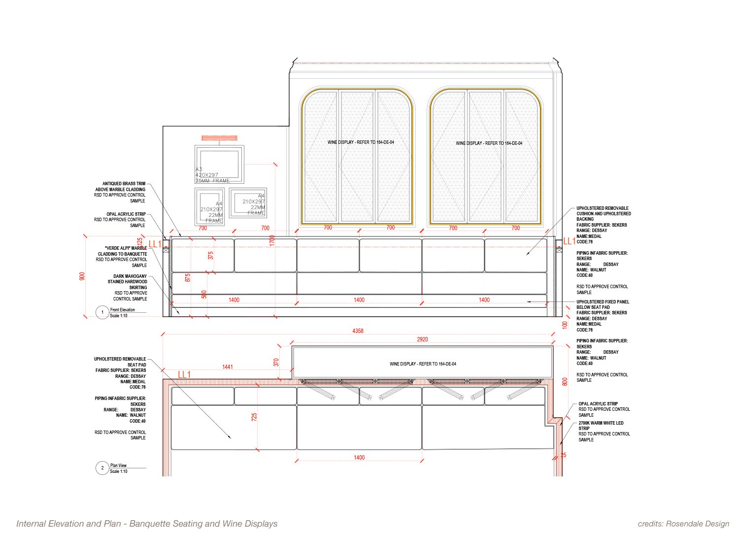 Internal Elevation and Plans - Banquette Seating and Wine Displays Rosendale Design}