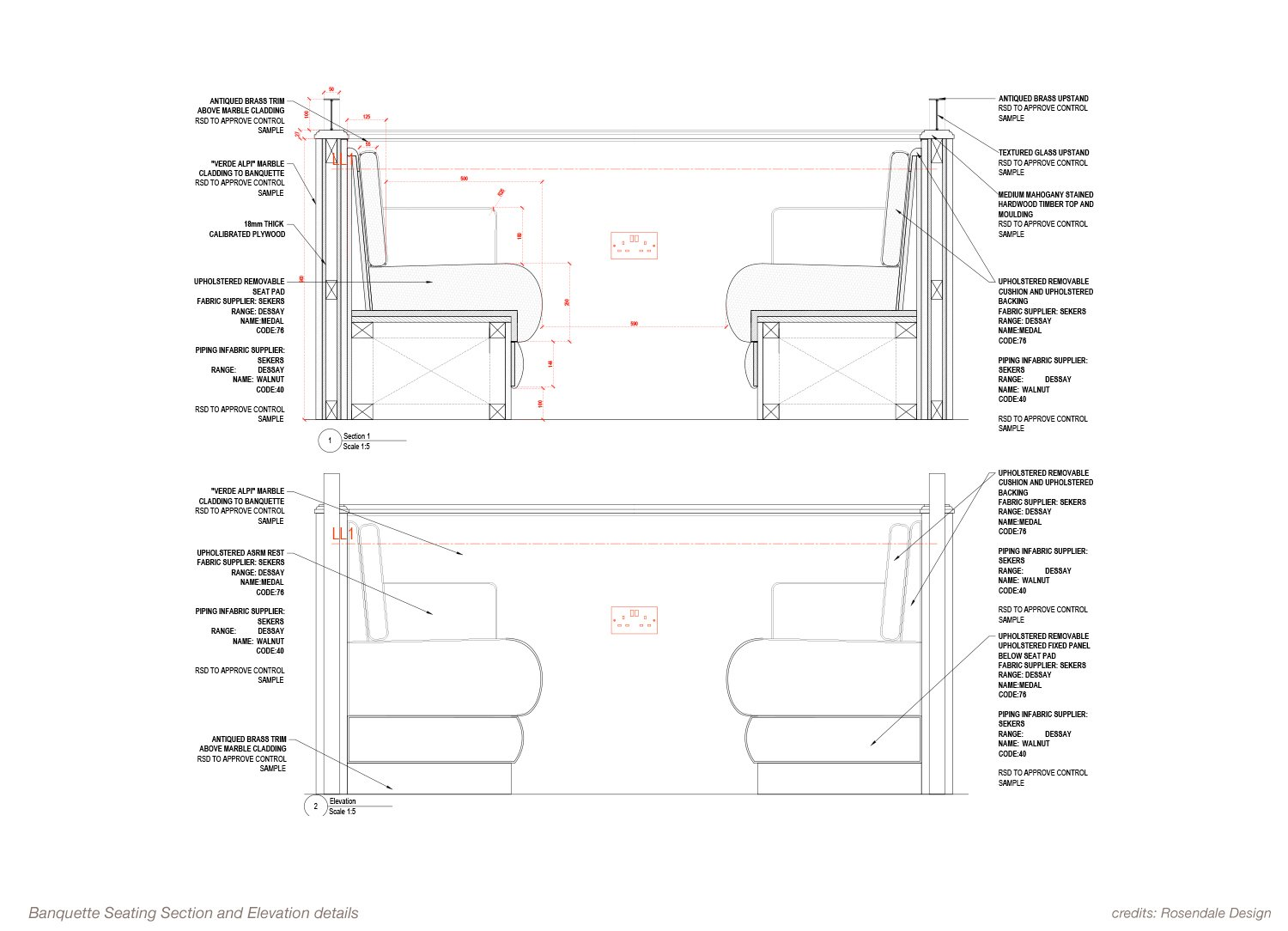 Banquette Seating Section and Elevation details Rosendale Design}