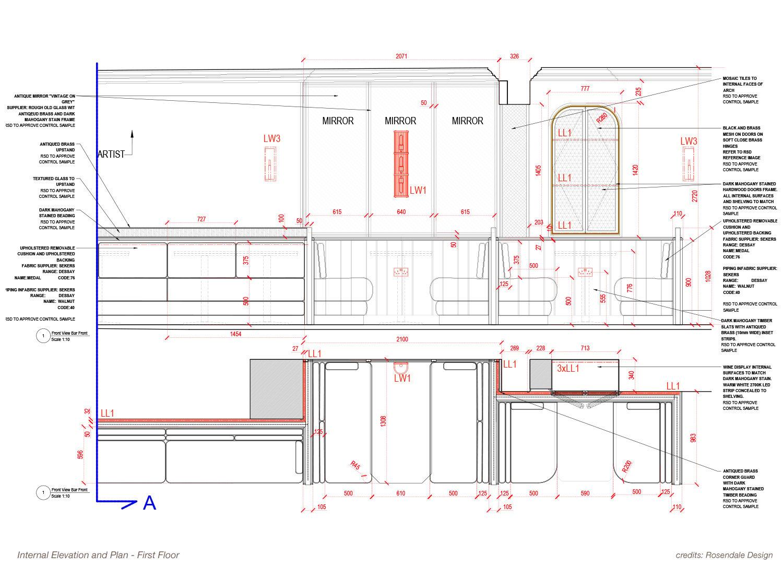 Internal Elevation and Plan - First Floor Rosendale Design}