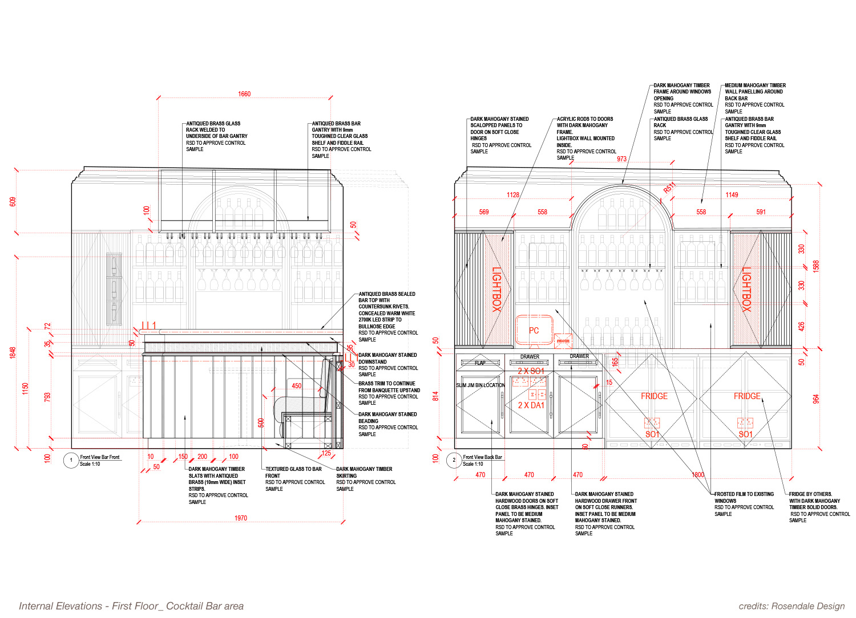 Internal Elevation - First Floor, Cocktail Bar Area Rosendale Design}