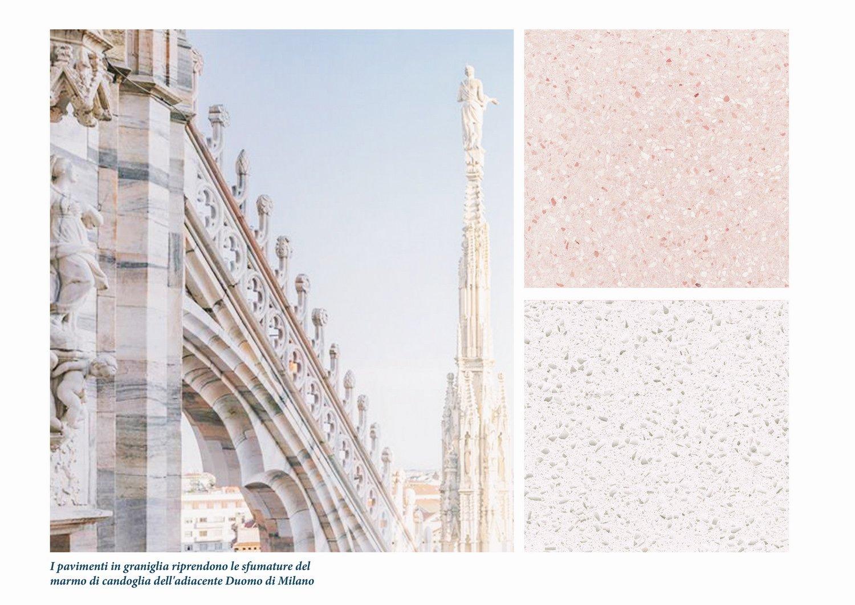 Materiali e colori come riferimento delle sfumature del marmo di Candoglia del Duomo Diele Kerciku Architetture}