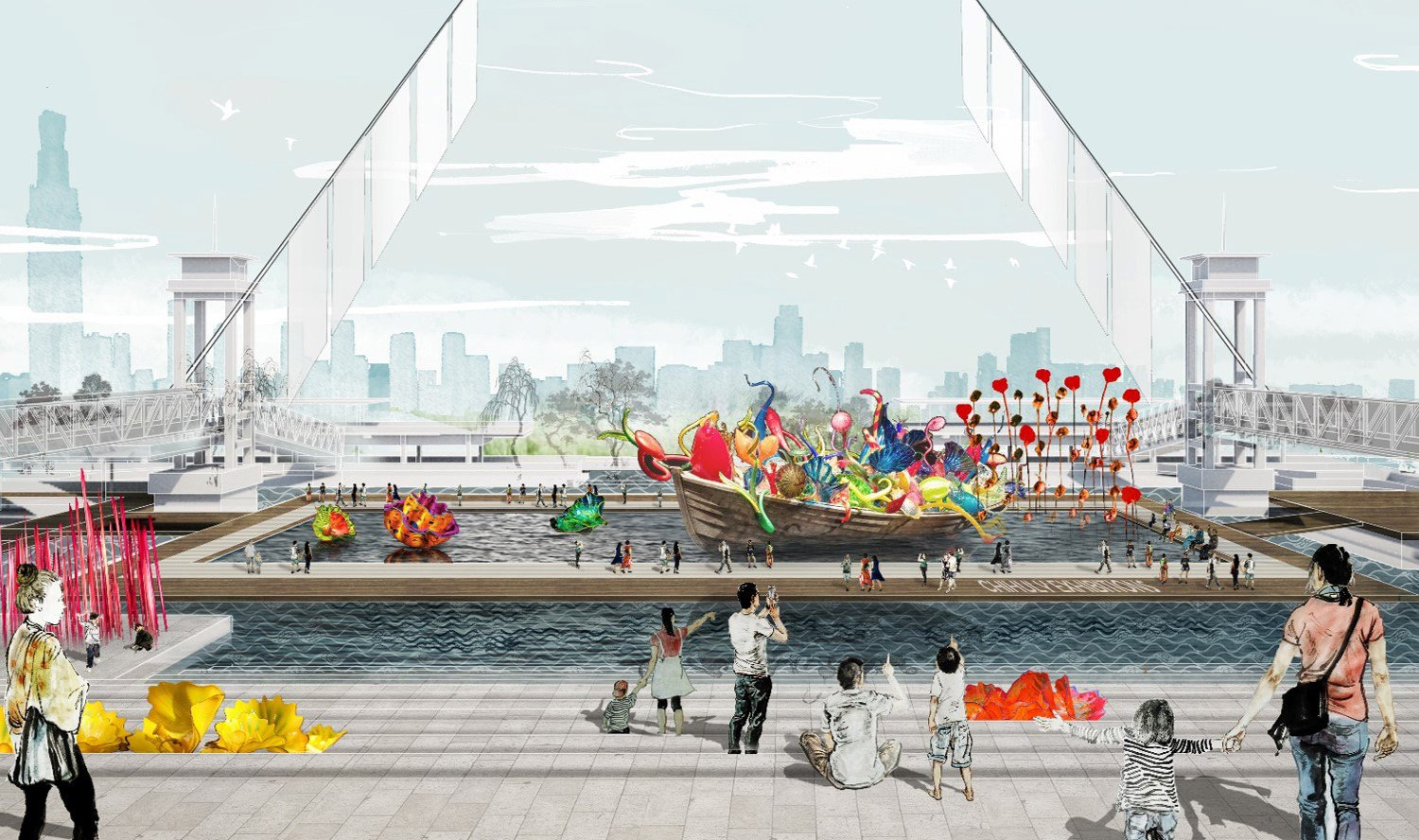 TRANSITIONING INDUSTRY TO CULTURAL EXPRESSION: Former port infrastructure including loading ramps, gangways, and platforms provide access to floating stages for outdoor art exhibits and performances. SASAKI}