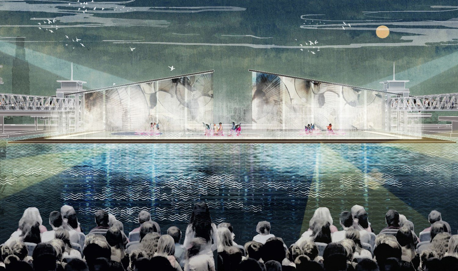 ENSURING VIBRANCY IN ALL CONDITIONS: Public seating areas are elevated above the high water level to allow for outdoor performances even in flood conditions, promoting public understanding and appreciation SASAKI}