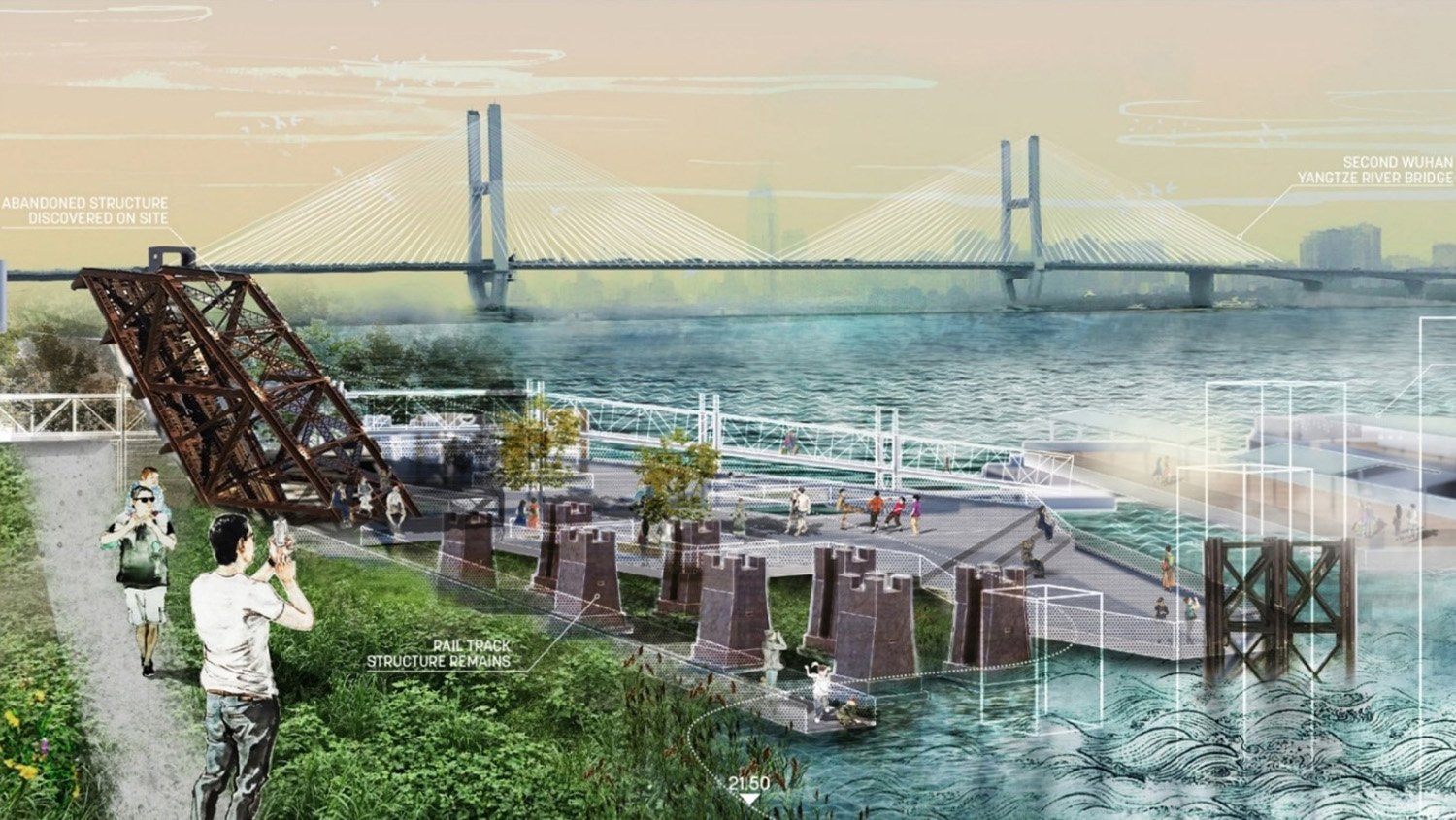 REPURPOSING INDUSTRIAL ELEMENTS AS PUBLIC ART: When water levels are low, the park reveals its industrial heritage with abandoned railyards and freight train terminals recalling the riverfront's previous u SASAKI}