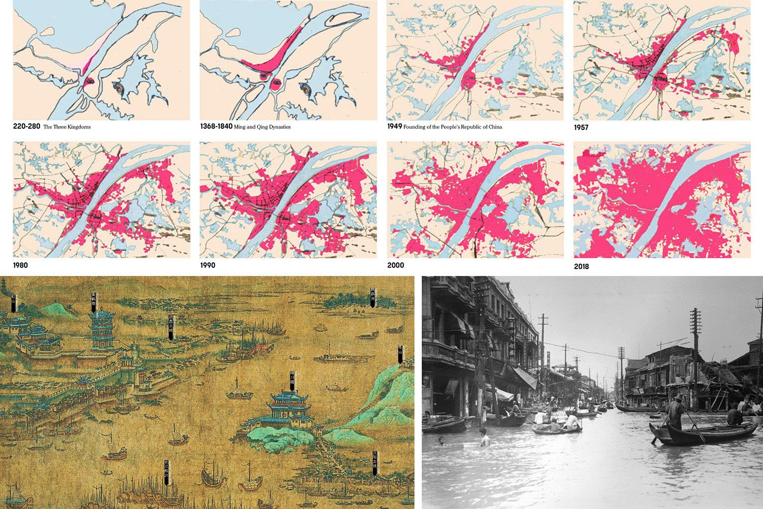 URBAN GROWTH CREATES A DISCONNECT: Wuhan and the Yangtze historically shared an intimate, symbiotic relationship until rapid urbanization and new levees separated the river from the city in recent decades. SASAKI