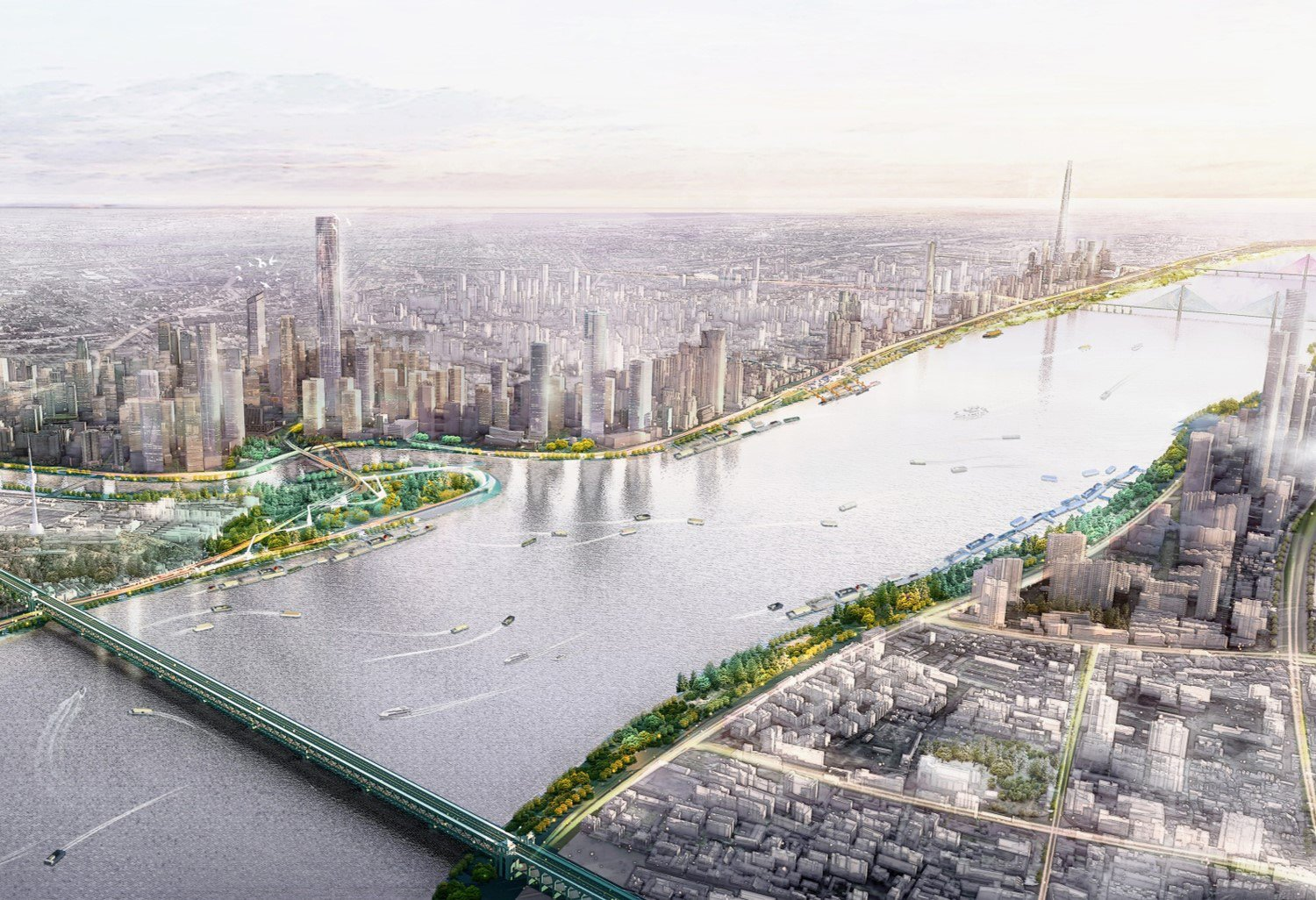 EXPANDING CONNECTIVITY AND ACCESSIBILITY: Straddling both banks of the Yangtze, the expanded riverfront park provides a landscape foreground to Wuhan's skyline, creating a contiguous public waterfront. SASAKI