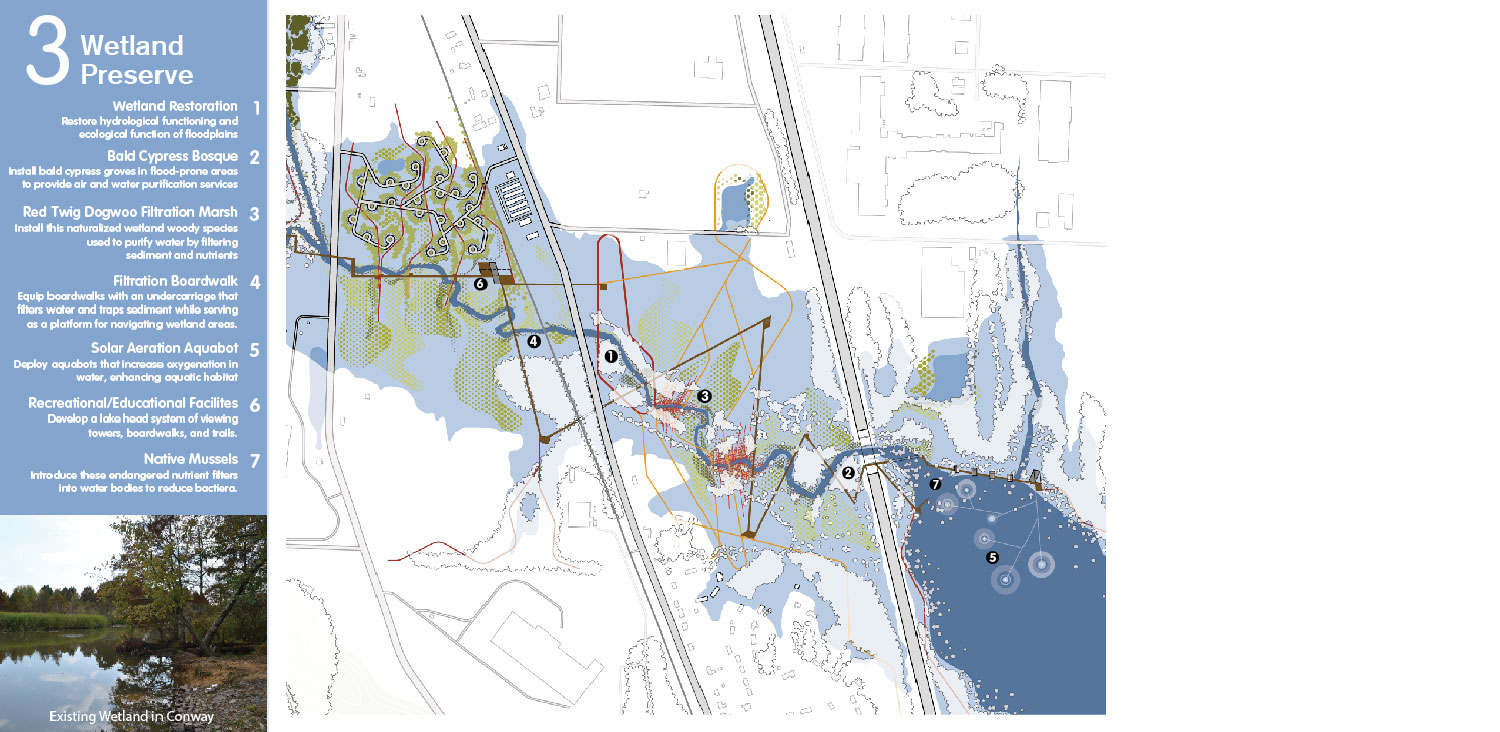 Restore wetlands and their holding capacity as a hydrological foyer to Lake Conway. University of Arkansas Community Design Center}