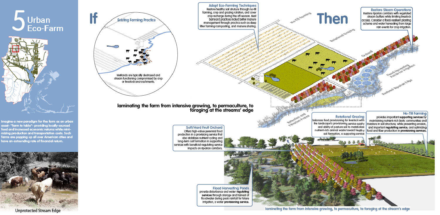 Retrofit the industrial farm as a permaculture landscape for sustainability and higher yields. University of Arkansas Community Design Center}