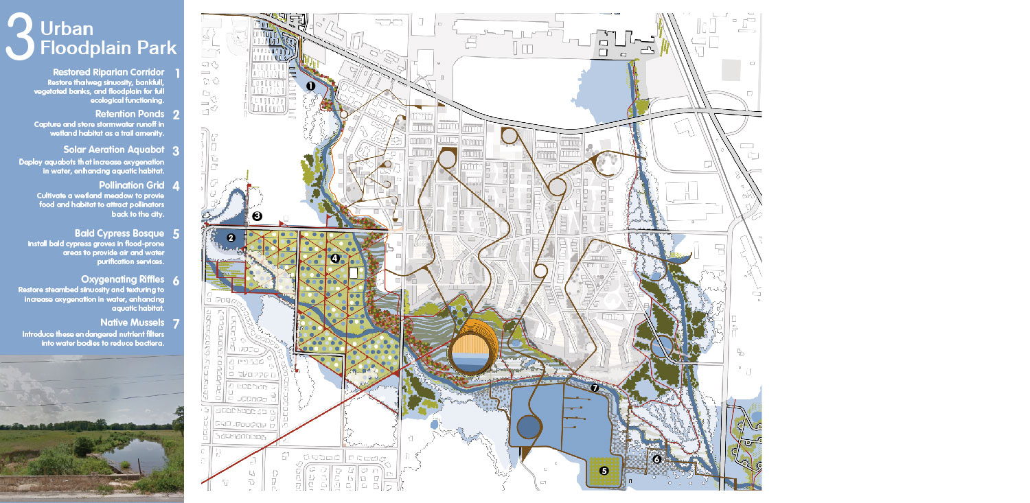 Restore the component critical to hydrologic functioning but eliminated by urbanism—floodplains. University of Arkansas Community Design Center}