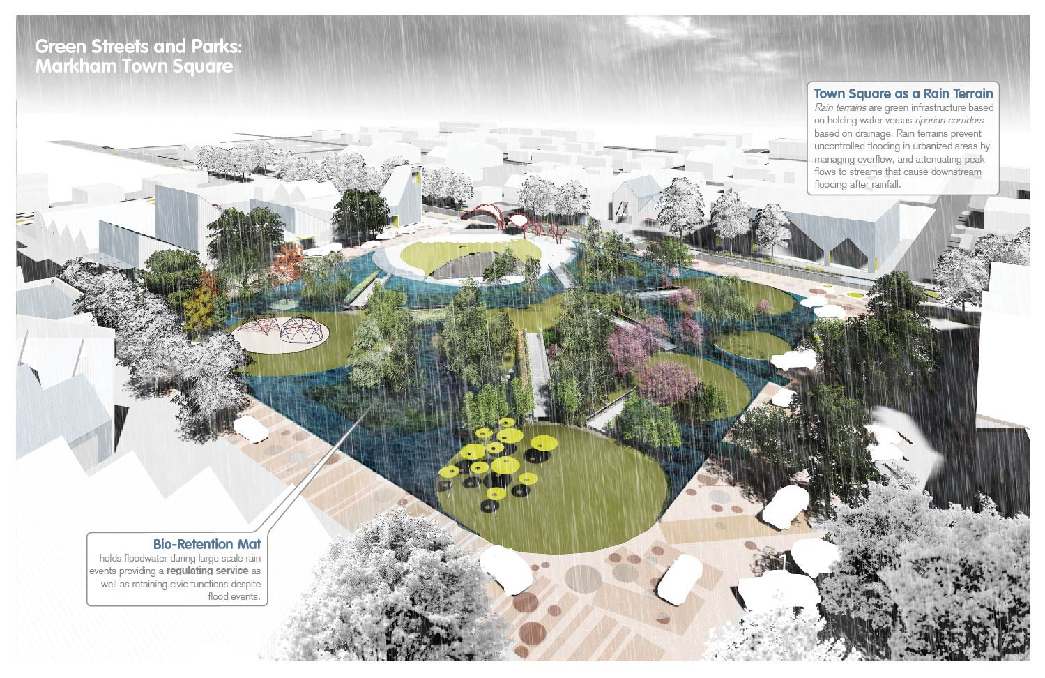 Town Square: designed as a bio-retention mat to hold floodwater during storms. University of Arkansas Community Design Center