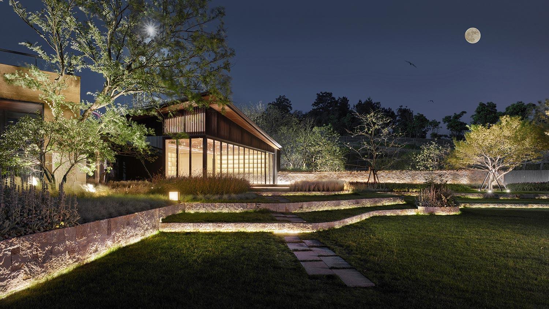 night view of Mogan Academy Jianzhi-Arch Photography