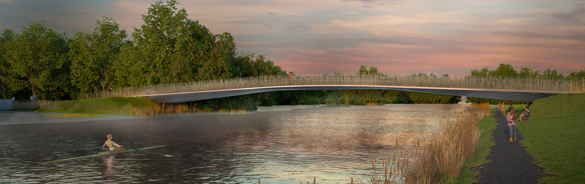 View looking east along river at dawn Ian Ritchie Architects Ltd}