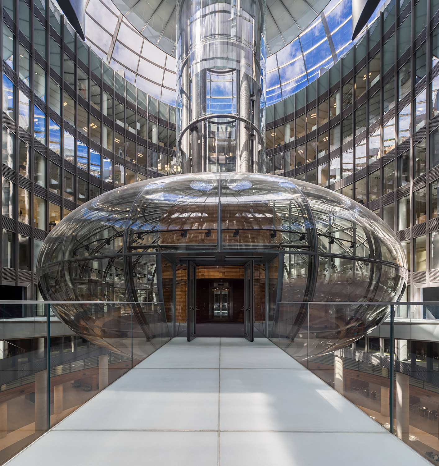 Cylindrical inner court yard and the lens-shaped futuristic glass dome, Nevsky Town Hall, Saint Petersburg Andrey Belimov-Guschin