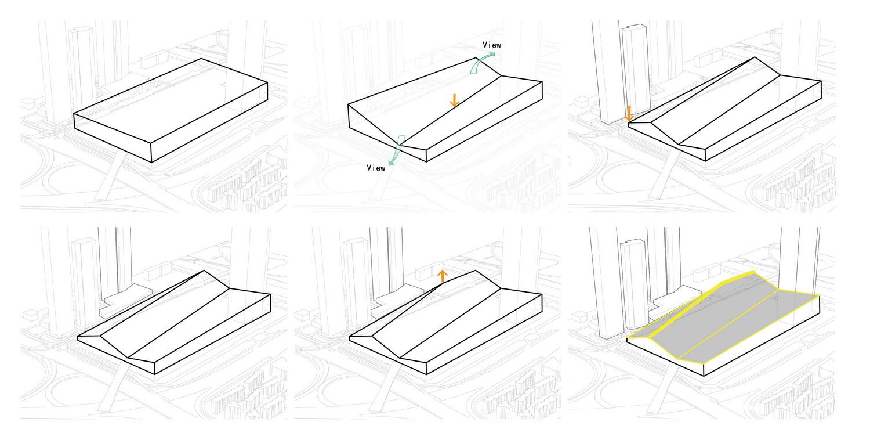 Massing Concept Diagram ©URBANUS}