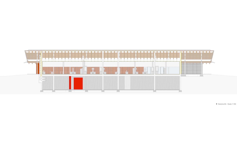 sezione longitudinale A-A studio di architettura Brandolisio}