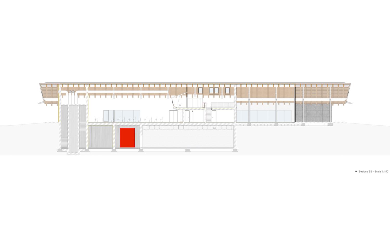 sezione longitudinale B-B studio di architettura Brandolisio}