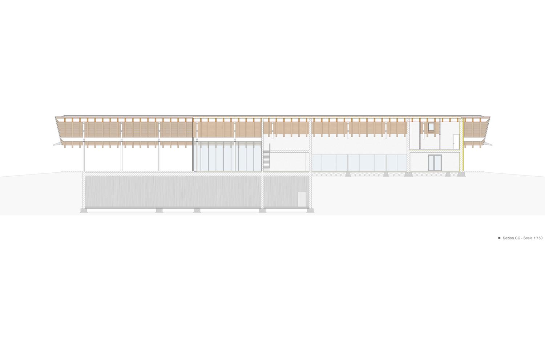 sezione longitudinale C-C studio di architettura Brandolisio}