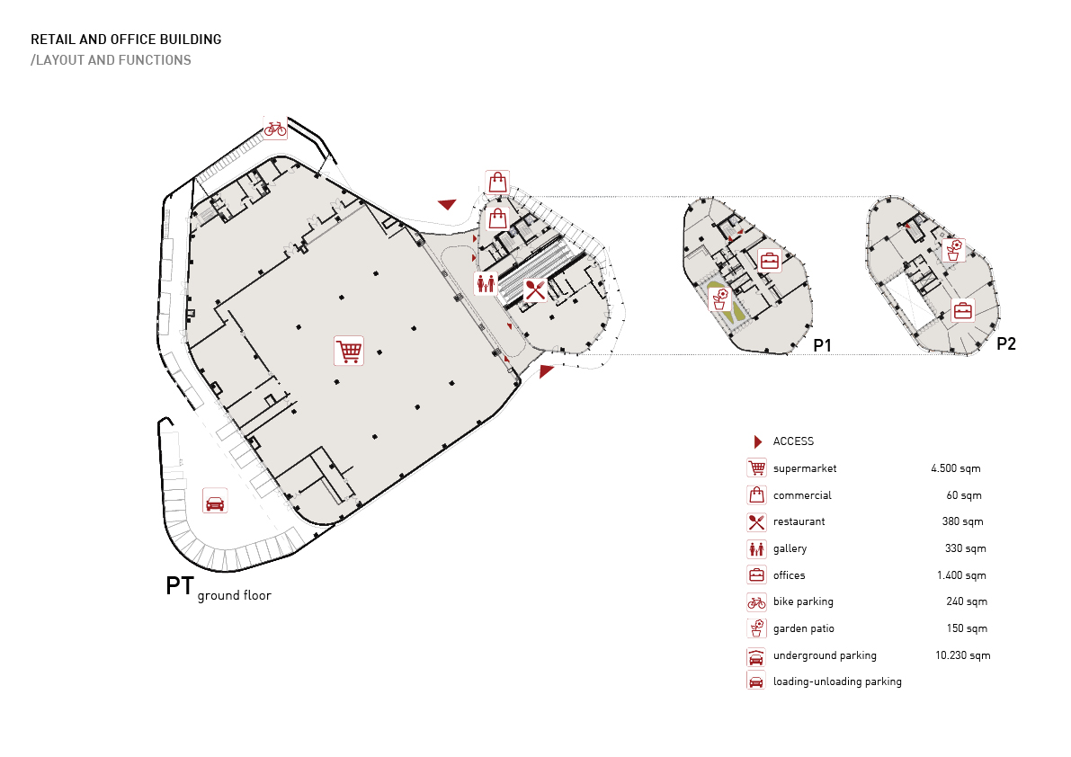 Retail and office building - layout and functions Alessandro Bucci Architetti}