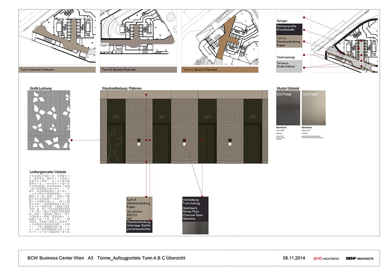 THE ICON /  elevator area, colour concept BEHF Architects}