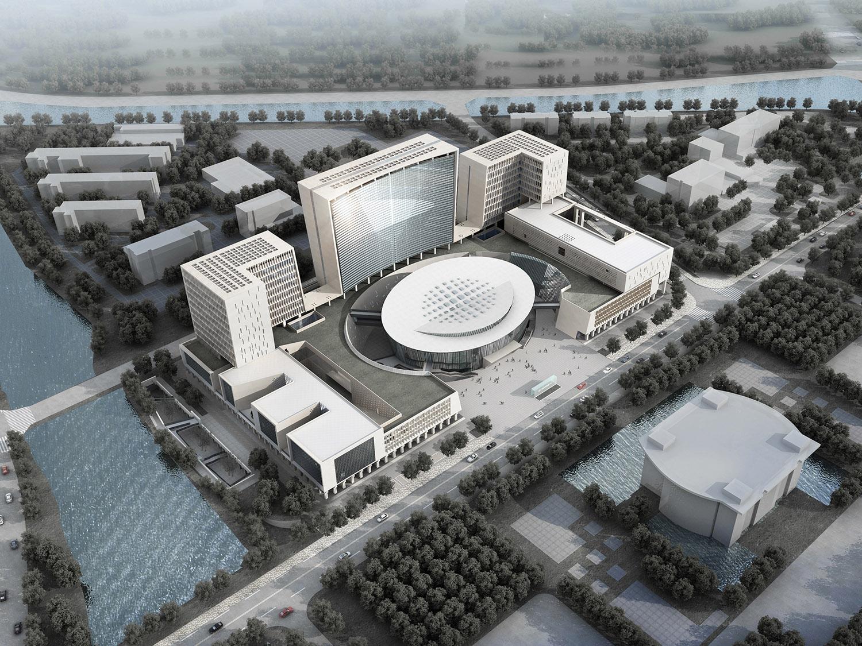 Aerial view rendering Shenzhen HOOP Architectural Design Co., ltd}