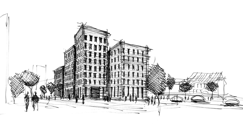 Sketch Silvio d'Ascia Architecture}