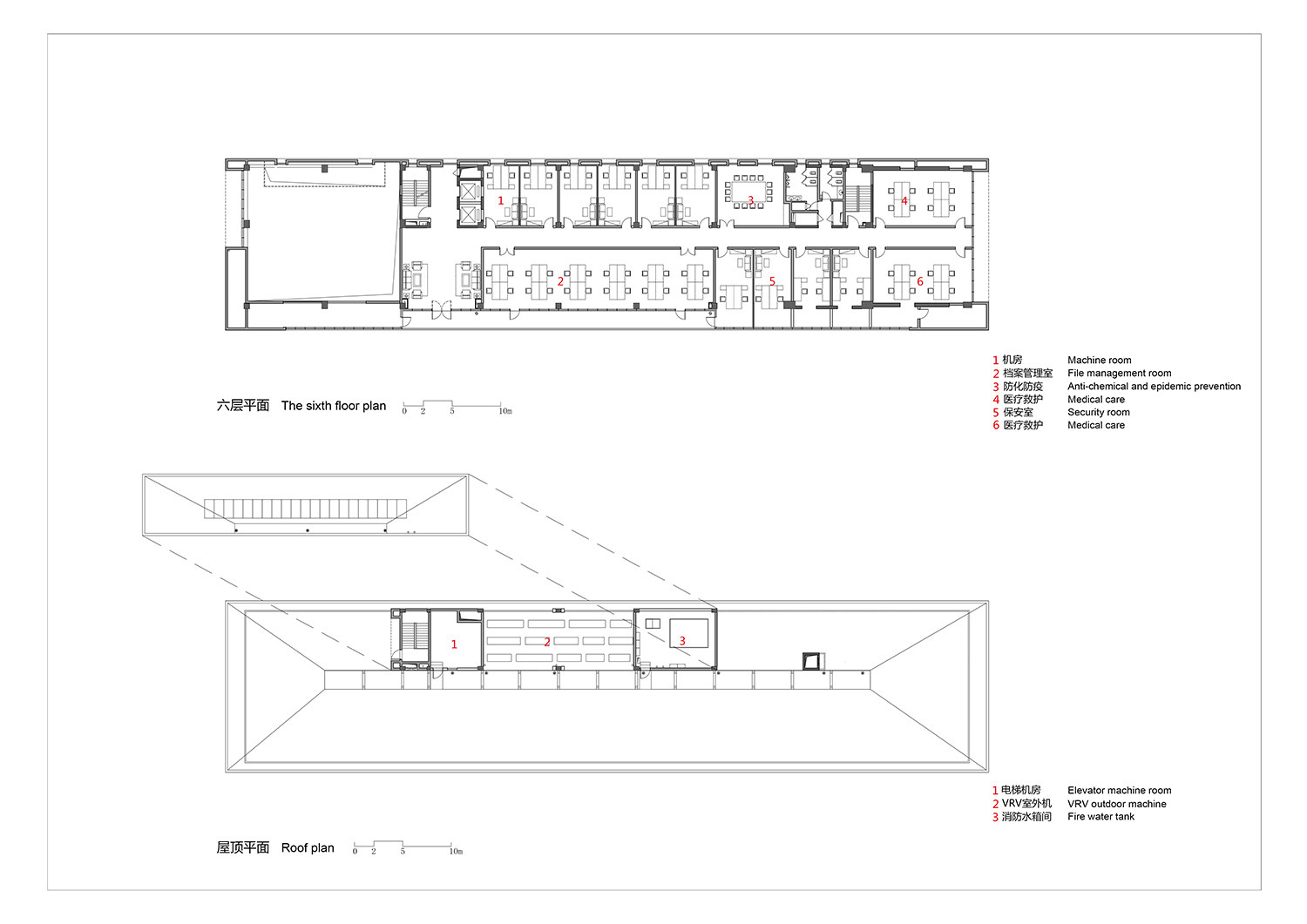 The-sixth-floor-plan-and-the-roof-plan the Architectural Design and Research Institute of Zhejiang University Co., Ltd}