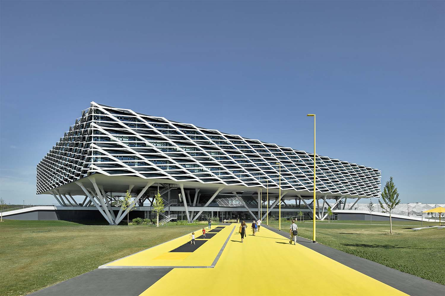 The sculptural shaped adidas ARENA forms a distinctive landmark on the adidas World of Sports campus David Matthiessen