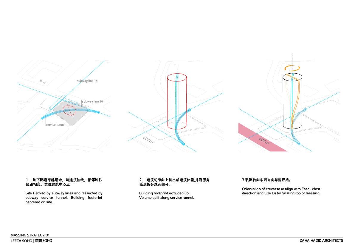 Massing Strategy 1 © Zaha Hadid Architects}