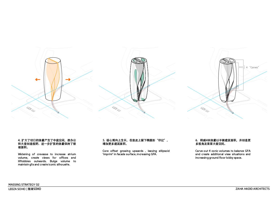 Massing Strategy 2 © Zaha Hadid Architects}