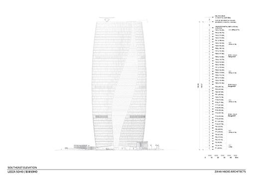 South East Elevation © Zaha Hadid Architects}